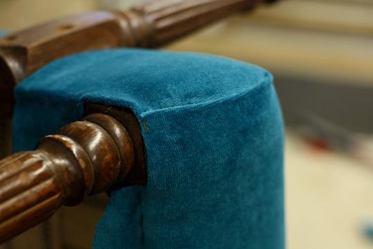 Reupholstered vintage chair detail